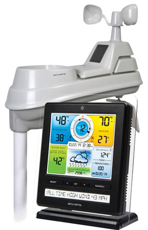 5. AcuRite 02032CRM Pro Weather Station With PC Connect, Weather Ticker, Rain And Wind