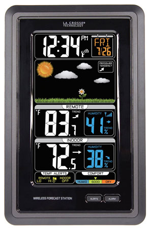 1. La Crosse Technology S889007 Vertical Wireless Color Forecast Station With Temperature Alerts, Top 15 Best Color Weather Station For Home in 2019 Reviews