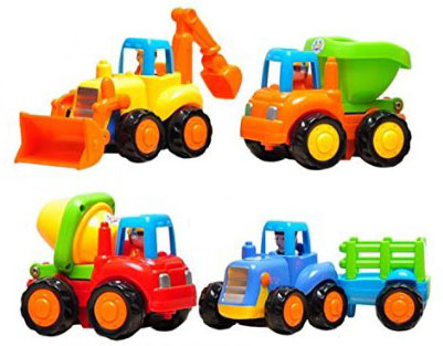 9. Set of 4 Carton Friction Powered Play Vehicles For Toddlers-Dump Truck Cement Mixer, Bulldozer, Tractor