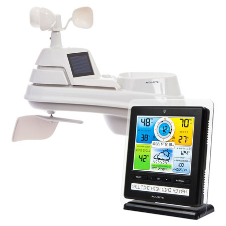 14.  AcuRite 01079M Pro Color Weather Station with 5 In 1 Pro Weather Sensor/ PC Connect/Weather Ticker/Rain /Wind