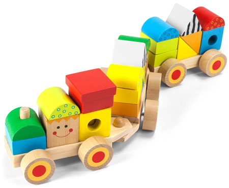12. Wooden Wonders Bold & Brilliant Stacking Train with 23 Zany Blocks By Imagination Generation