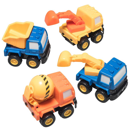 10. Prextex Pull Back And Go Construction Vehicle Stocking Stuffers and Toys For Boys (Includes: Cement Tanker, Dump Truck, Bulldozers)