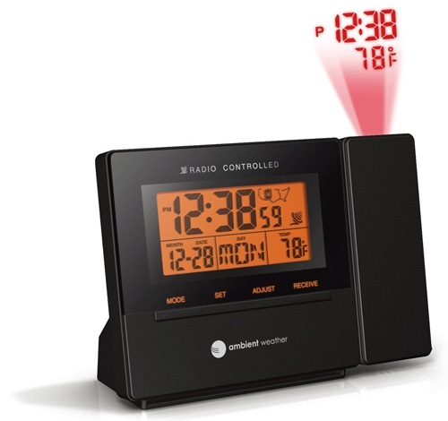 #2. Ambient Weather RC-8427 Radio Controlled Projection Alarm Clock