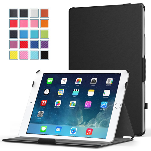#1. MoKo iPad Air 2 Case - Slim-Fit Multi-angle Folio Cover Case for Apple iPad Air 2 (iPad 6) 9.7 Inch iOS 8 Tablet, BLACK (with Smart Cover Auto Sleep / wake)