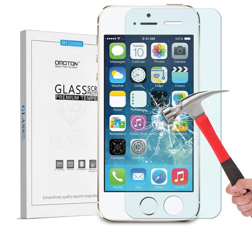 #5. iPhone SE Screen Protector, OMOTON iPhone SE 5S 5 5C Tempered Glass Screen Protector[Scratch Resist] [ No Bubble][Anti-crack] [9H Hardness][0.26mm Curved Edge] [Crystal Clear]