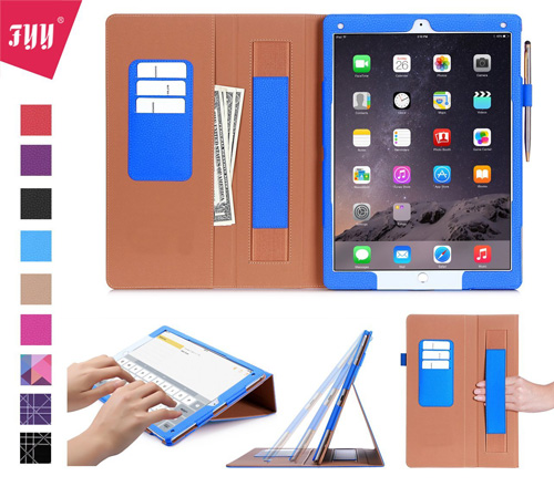#5. iPad Pro 9.7 case, FYY[Full Protection]Premium PU Leather Case with Card Slots, Note Holder, Hand Strap for iPad Pro 9.7 inch (2016) Navy Blue