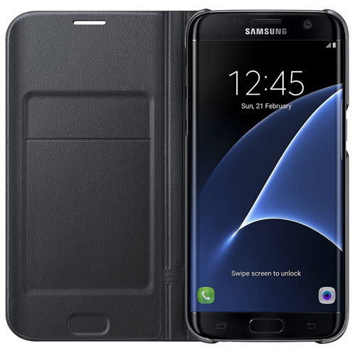 #2. Samsung Galaxy S7 edge Case LED View Flip Cover - Black