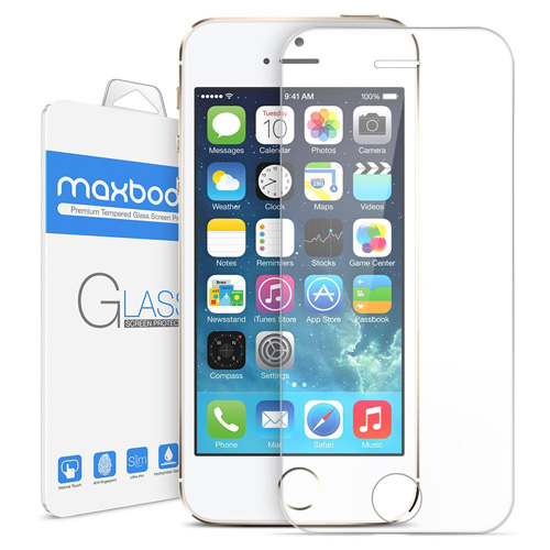 #1. iPhone SE Screen Protector, Maxboost iPhone SE 5S 5 5C 5SE Glass Screen Protector [Tempered Glass] 0.2mm Ballistics Glass And Work With Most Protective Case-Clear 3 Pack
