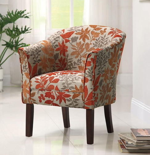 #3. Floral Barrel Back Accent Chair