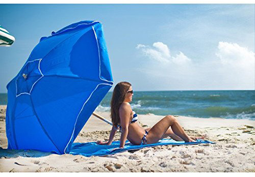 #4. UPF Wood Beach Umbrella