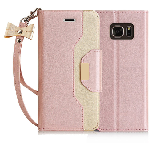 #10. Premium Leather Wallet Case With Cosmetic Mirror And Bowknot Strap For Samsung Galaxy Note 7 By FYY In Rose Gold