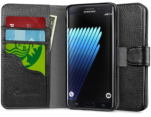 #8. Samsung Galaxy Note 7 Leather Cover with Credit Card ID Holders By iBlason