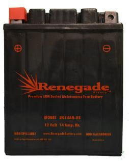 9.Renegade RG14AH-BS 12 Volt 14 AH Premium PowerSport Battery