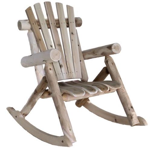 9. Lakeland Mills Cedar Log Rocking Chair