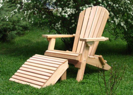 2. The Folding Cedar Adirondack chair with Ottoman
