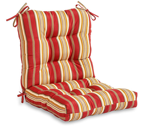 8. Greendale Home Fashions Indoor/Outdoor Seat/Back Chair Cushion, Roma Stripe