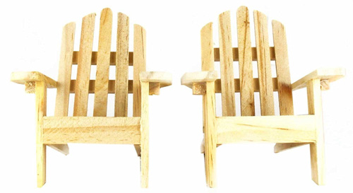 6. The Mini Decorative Adirondack Wood Chairs (Set of 2)