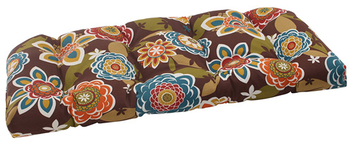7. Pillow Perfect Indoor/Outdoor Annie Wicker Loveseat Cushion, Chocolate