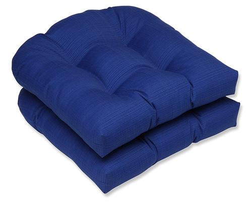 6. Pillow Perfect Indoor/Outdoor Fresco Wicker Seat Cushion, Navy, Set of 2