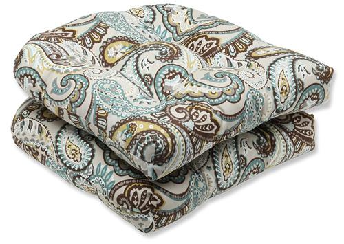 9. Pillow Perfect Outdoor Tamara Paisley Quartz Wicker Seat Cushion, Set of 2
