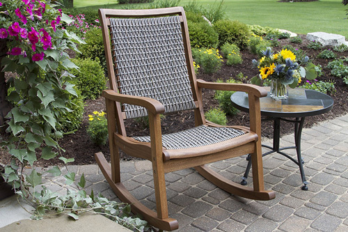 5. Outdoor Interiors Resin Wicker and Eucalyptus Rocking Chair