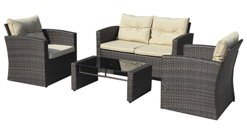 2. Giantex 4 PCS Cushioned Wicker Patio Sofa Furniture Set Garden Lawn Seat Gradient Brown