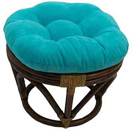 3. International Caravan Bali Rattan Papasan Footstool Ottoman - Aqua Blue