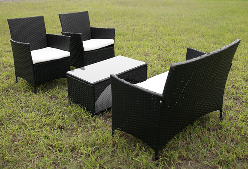 1. Merax® 4 Piece Outdoor Patio PE Rattan Wicker Garden Lawn Sofa Seat Patio Rattan Furniture Sets