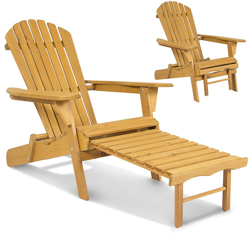 5. The Best Choice Products SKY2254 Adirondack Wood Chair with Pull-Out Ottoman
