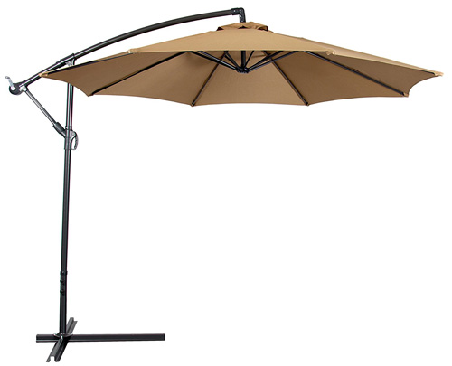 1. Best Choice Products Offset 10' Hanging Tan Patio Umbrella
