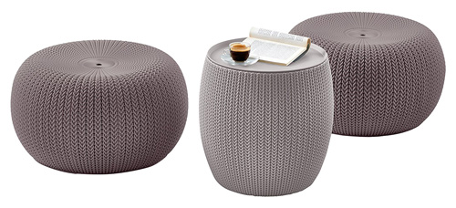 1. Keter 3 Piece Compact Indoor/Outdoor Table & 2 Seating Poufs Cozy Urban Knit Furniture Set