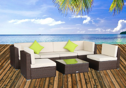 4. U-max 7 Piece 7-14 Pieces Patio PE Rattan Wicker Sofa Sectional Furniture Set Brown