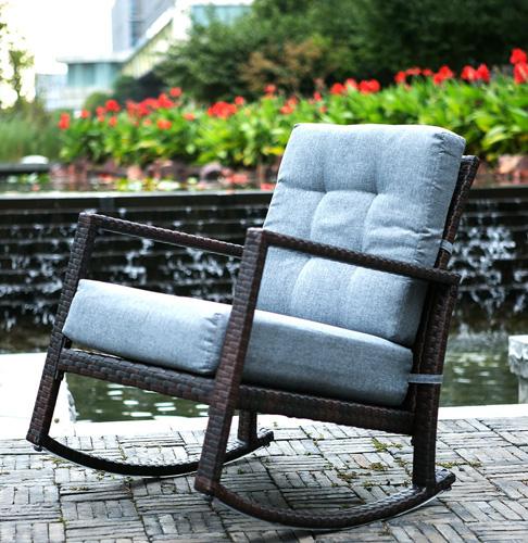 8. Merax Cushioned Rattan Rocker Chair Rocking Armchair Chair