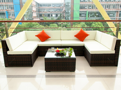7. Merax 7 Piece Cushioned Outdoor Patio Furniture Set Sectional Garden furniture