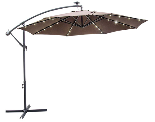 9. CASUN GARDEN 10 Ft Patio Offset Umbrella Crank Hanging Umbrella