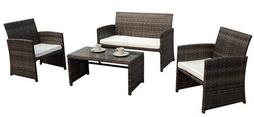 6. PATIOROMA 4pc Rattan Sectional Furniture Set