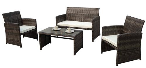 6. PATIOROMA 4pc Rattan Sectional Furniture Set