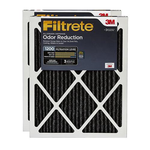 7. Filtrete Allergen Defense Odor Reduction Filter, MPR 1200, 16 x 25 x 1-Inches, 2-Pack
