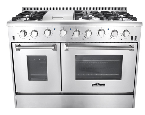 10. Thor Kitchen Gas Range with 6 Burners and Double Ovens,