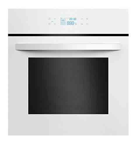 8. Empava KQC65C-12-220V White Tempered Glass LED Digital Touch Controls Electric Built-In Single Wall Oven