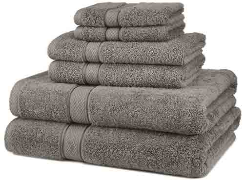 1. Pinzon Blended Egyptian Cotton 6-Piece Towel Set, Grey