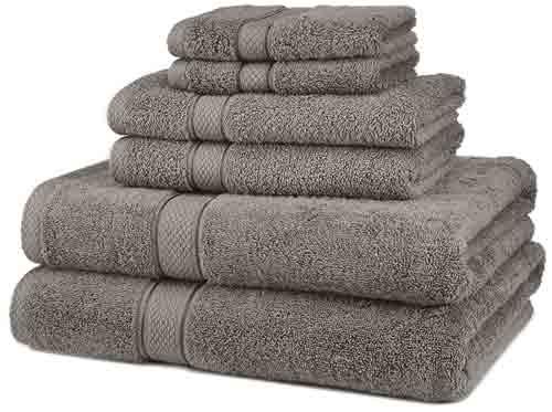 1. Pinzon Blended Egyptian Cotton 6-Piece Towel Set, Grey