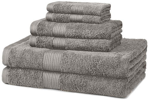 7. AmazonBasics Fade-Resistant Cotton 6-Piece Towel Set, Grey