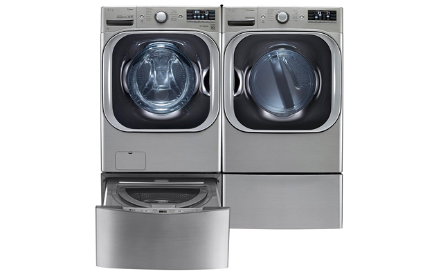 7. LG TwinWash Graphite Steel Front Load Laundry Pair