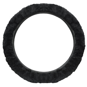 2. Cutequeen trading Sheepskin Steering Wheel Cover Black
