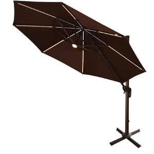 10. Ulax Furniture Solar LED Offset Hanging Umbrella
