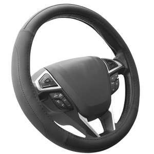 1. SEG Direct Black Microfiber Steering Wheel Cover
