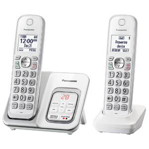 2 Panasonic KX-TGD532W Expandable Cordless Phone
